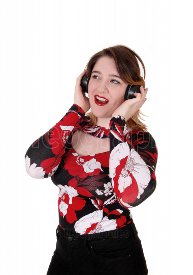 Woman listening to music with headset
