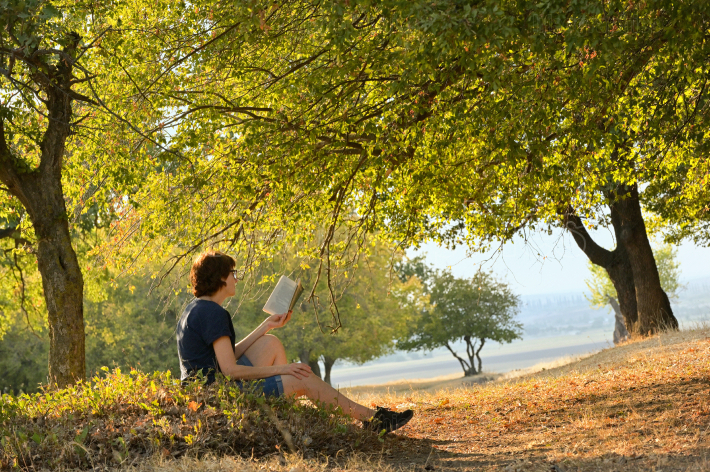 Woman reading a book in forest