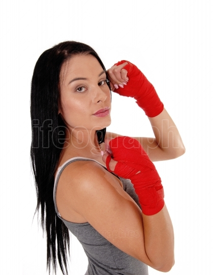 Woman ready for kick boxing