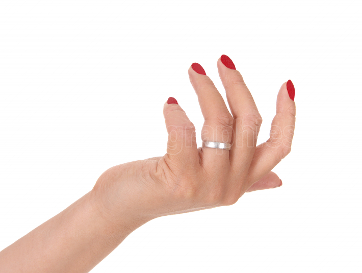 Woman s hand with red fingernails over white