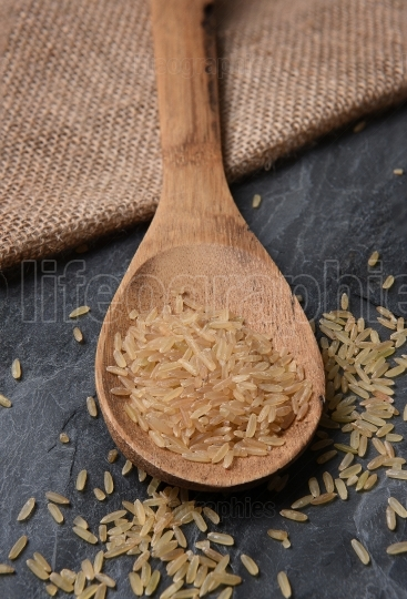 Wood Spoon with Brown Rice