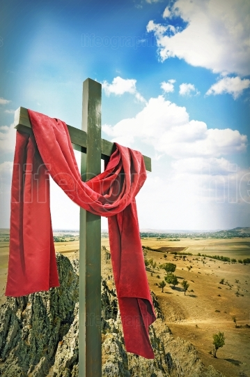Wooden Cross with Red Cloth