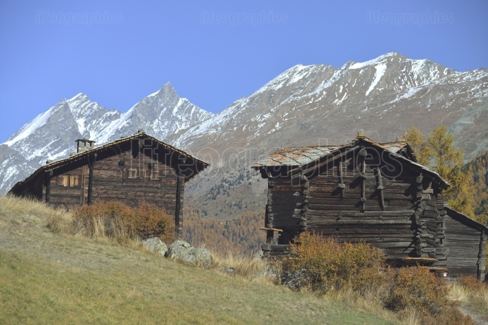 Wooden houses from old village from zermatt with matterhorn peak in background