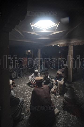 Workers resting after work. Shimshal village