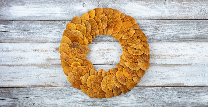Wreath made of natural fungi or mushroom on white rustic wood