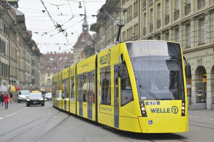 Yellow tram in Bern