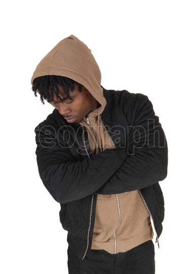 Young African man in a closeup image with a hoody