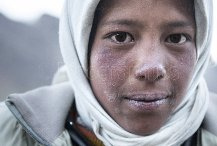 Young and poor girl from upper Shimshal.