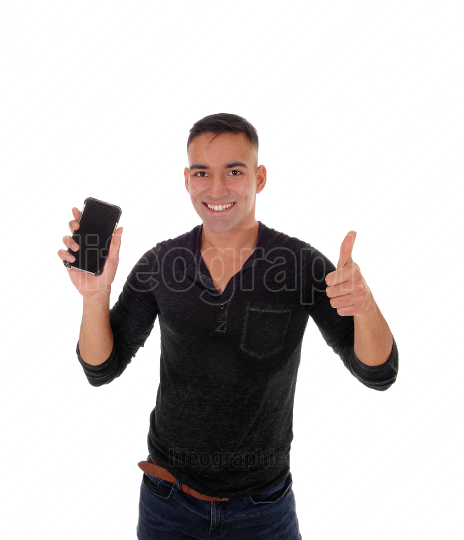 Young man showing his cell phone, good news