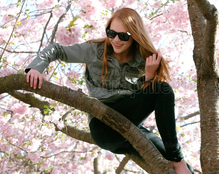 Young woman in cherry tree