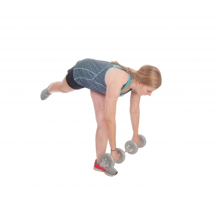 Young woman working out with two dumbbell s