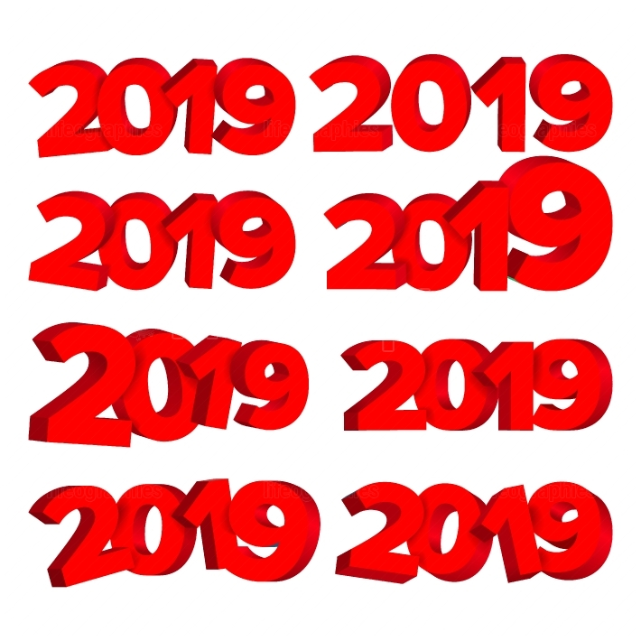 2019 3D Sign Set Vector  Red Numbers 2019  Design Element For Holidays Winter Design  Happy New Year Celebration Banner, Card, Flyer Isolated Element  Illustration