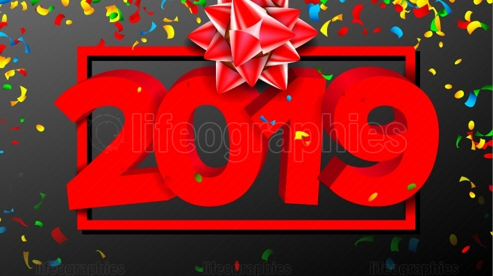 2019 3D Sign Vector  Sign Numbers 2019  Modern Brochure  Red  New Year Background Illustration
