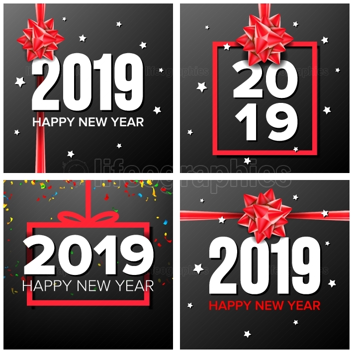 2019 Happy New Year Background Set Vector  Numbers 2019 Sign  Confetti, Red Bow  Modern Christmas Brochure  Seasonal Flyer  Holiday New Year Celebration Banner, Card  Dark Illustration