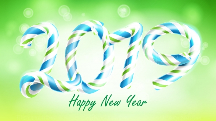 2019 Happy New Year Background Vector  Numbers 2019  Christmas Colours  Green  Classic Xmas 3D Candy Cane  New Year Poster, Greeting Card, Brochure, Flyer Template Design  Illustration