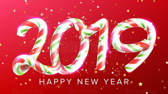2019 Happy New Year Background Vector  Numbers 2019  Christmas Realistic Sign  Classic Xmas Red Colours  3D Candy Cane  New Year Poster, Greeting Card, Brochure, Flyer Typography Template Design