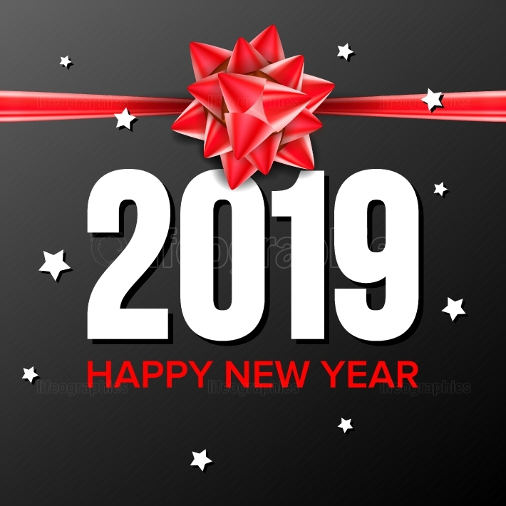 2019 Happy New Year Background Vector  Sign 2019  Bow  Greeting Card Design  Black, Red  Illustration