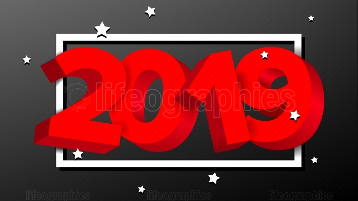 2019 Red Sign Vector  Numbers 2019  Holiday New Year Celebration Banner, Card  Happy New Year Background Illustration