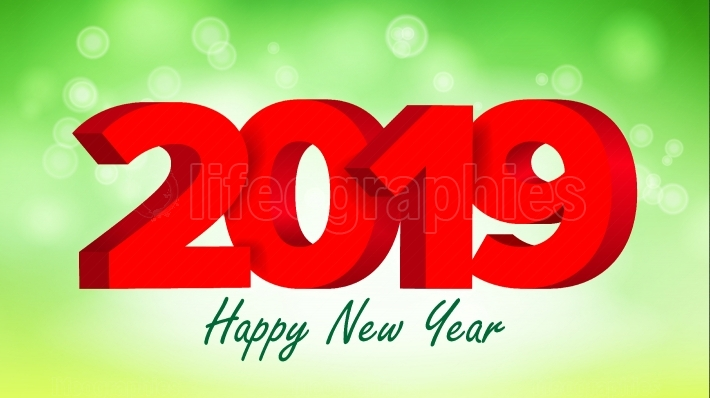 2019 Red Sign Vector  Sign 3d Numbers 2019  Greeting Card Design  Red  Happy New Year Background Illustration