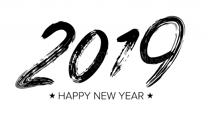 2019 Sign Vector  Grunge Calligraphy  Happy New Year  Brush  Design Element  Black Numbers Isolated On White Background Illustration