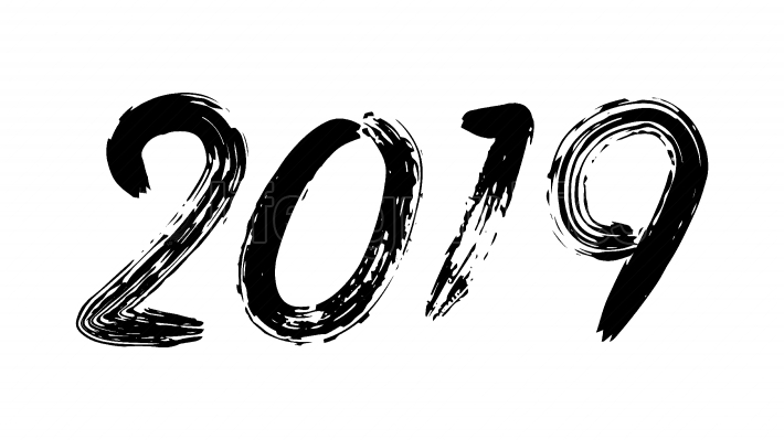 2019 Sign Vector  Grunge Calligraphy  Happy New Year  Flyer, Poster, Card, Brochure Design  Black Numbers Isolated On White Background Illustration