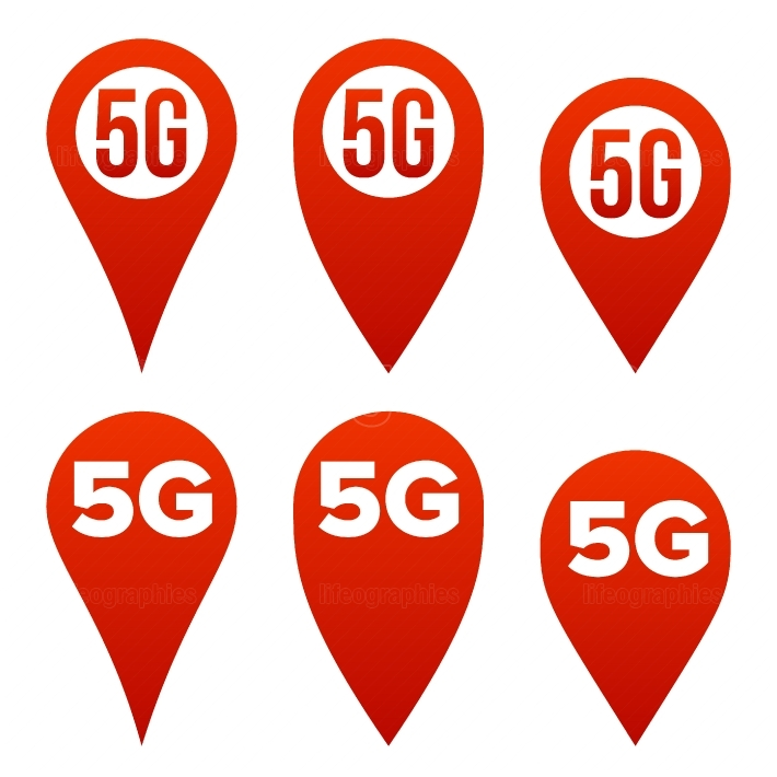 5G Pointer Sign Set Vector  Red Icon  Internet Wi Fi Connection Standard  Speed Sign  Wireless Internet Network Future Technology  Isolated Illustration