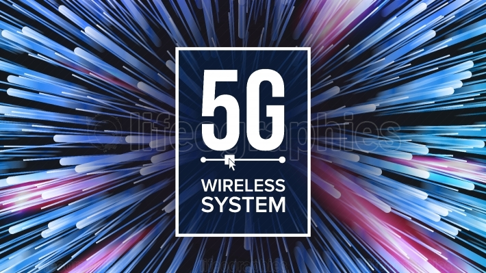 5G Wi Fi Standard Background Vector  Five, 5th Generation  Signal Transmission  high Speed Innovation Connection  Future Technology Illustration