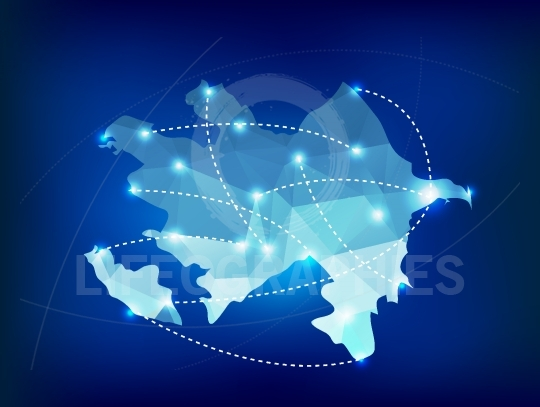 Azerbaijan country map polygonal with spot lights places
