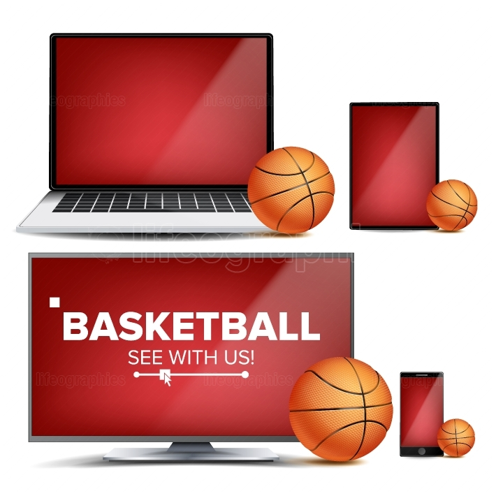 Basketball Application Vector  Field, Basketball Ball  Online Stream, Bookmaker, Sport Game App  Banner Design Element  Live Match  Monitor, Laptop, Tablet, Mobile Smart Phone  Realistic Illustration