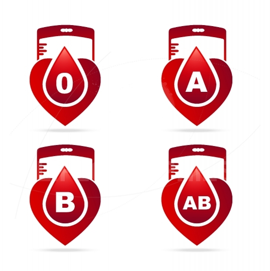 Blood type.Creative blood groups showing in a hearts shape with