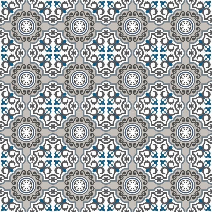 Blue and grey ornamental tiles pattern