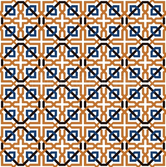 Blue and orange geometric tiles pattern