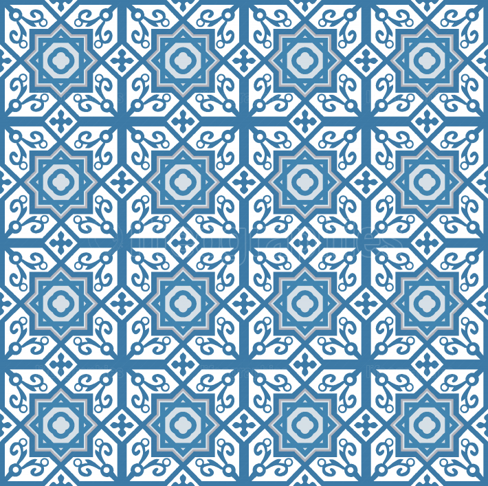 Blue arabic tiles pattern