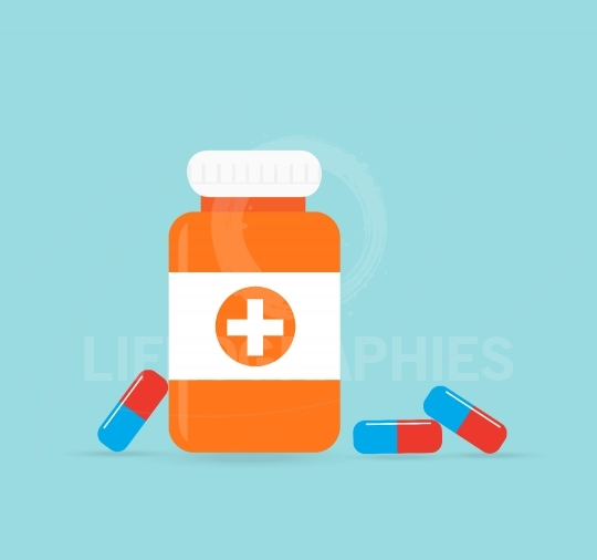 Bottle with medical pills icon tablets.Useful for medical, pharm