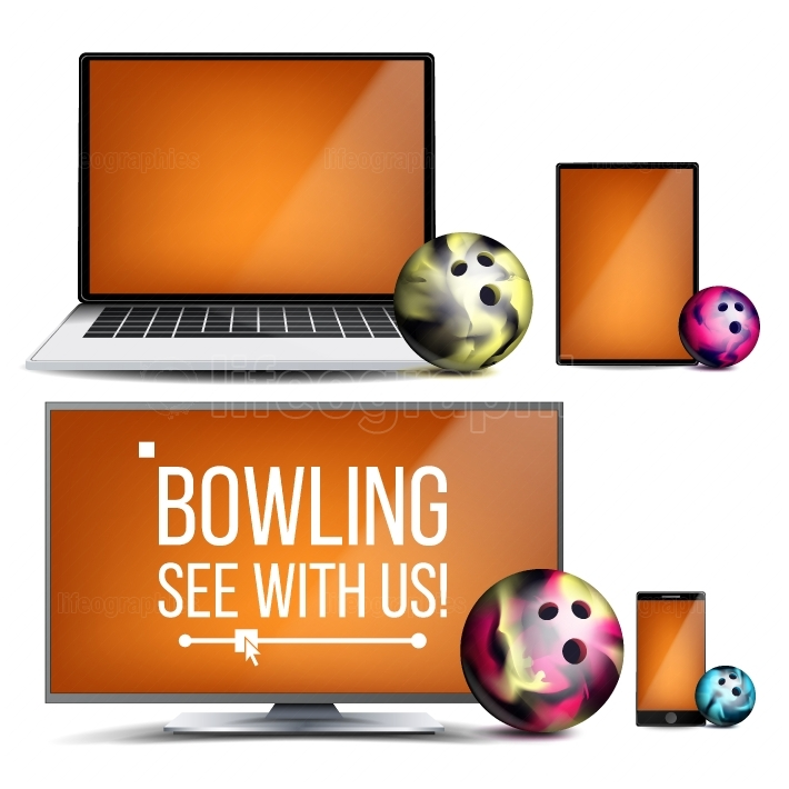 Bowling Application Vector  Bowling Ball  Online Stream, Bookmaker, Sport Game App  Banner Design Element  Live Match  Monitor, Laptop, Touch Tablet, Mobile Smart Phone  Realistic Illustration