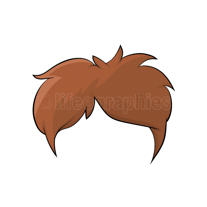 Boy hairstyle, hair isolated cartoon design isolated on white ba