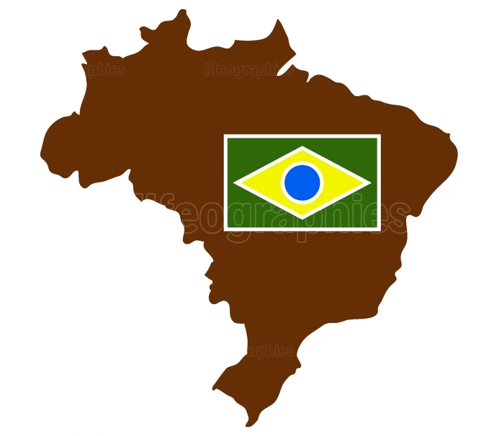 brazil map with flag