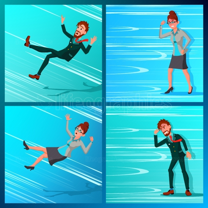 Business Person Go Against Wind, Falling Down Vector  Against Obstacles  Opposite Direction  Opponent, Finance Mistate, Business Bankruptcy, Work Crisis  Failure  Office Worker Cartoon Illustration