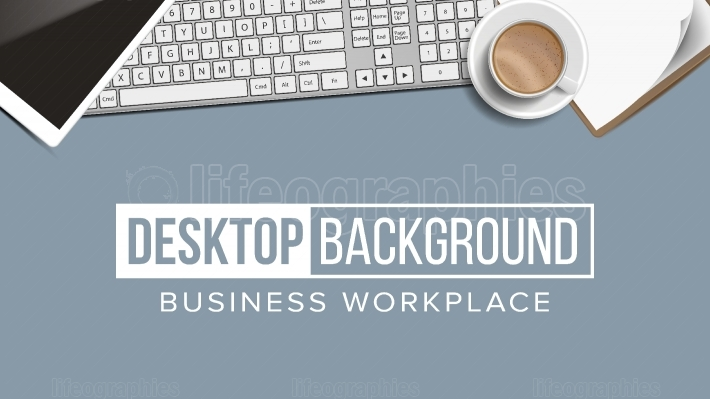 Business Workplace Desktop Background Vector  Digital Finance Elements  Laptop, Keyboard, Coffee Cup, Smartphone, Notebook  Illustration