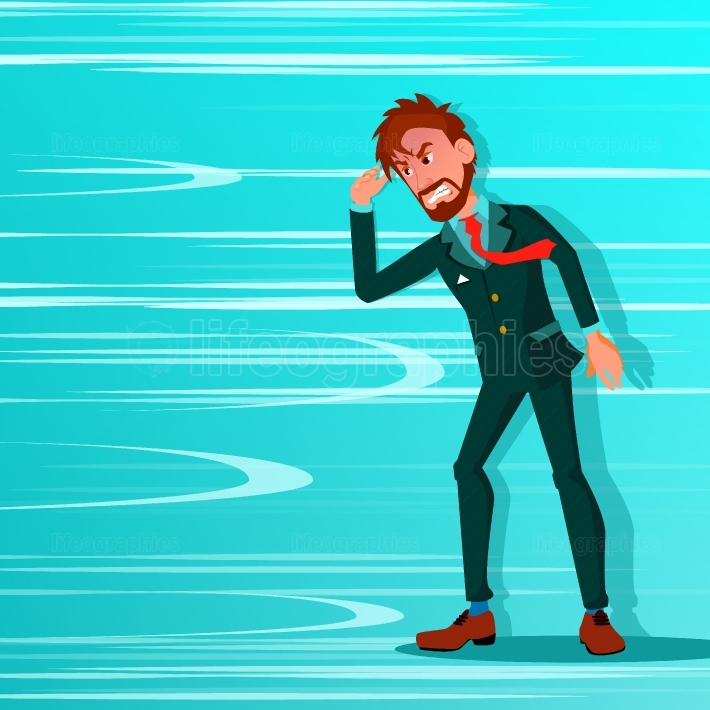 Businessman Go Against Wind Blowing Vector  Against Obstacles  Opposite Direction  Opponent, Strategy Concept  Creative Solution, Innovation  Office Worker Cartoon Illustration