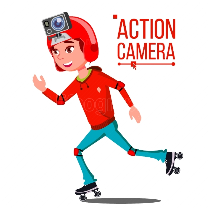 Child Girl With Action Camera Vector  Teenager  Red Helmet  Shooting Process  Active Type Of Rest  Recording Video  Isolated Cartoon Illustration