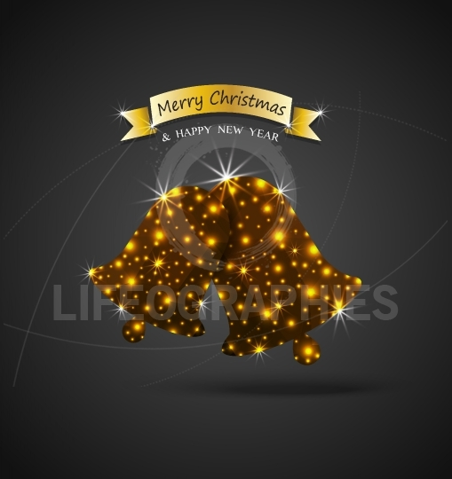 Christmas celebrations greeting card  with shiny golden jingle bells and lights effect