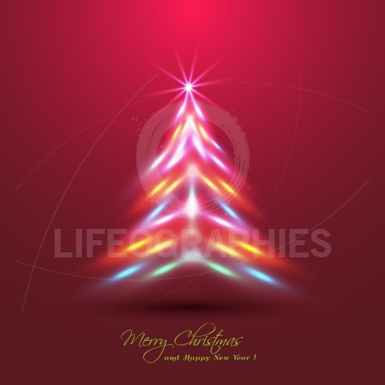 Christmas tree made of neon lights effect
