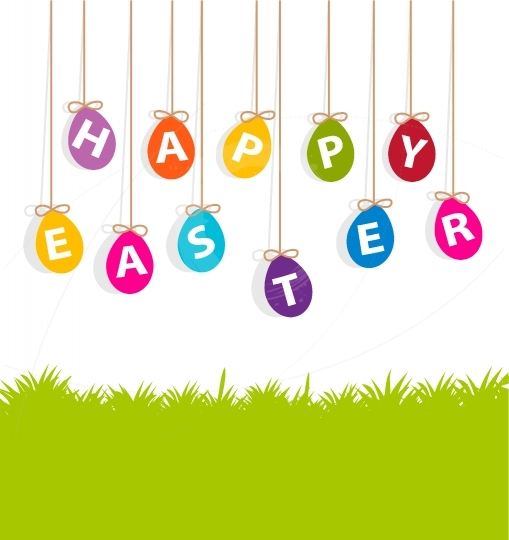 Colored hanging eggs  Easter card