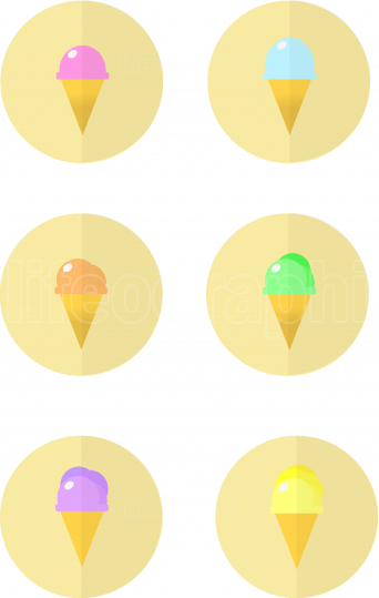 Colorful ice cream cones on yellow circles