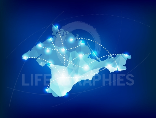 Crimea country map polygonal with spot lights places