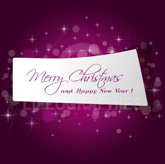 Cute paper Merry Christmas message in red background