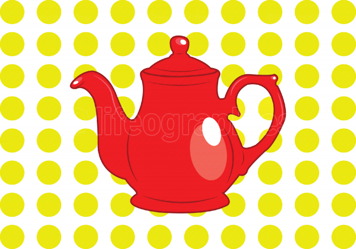 Cute red tea pot on yellow polka dot background