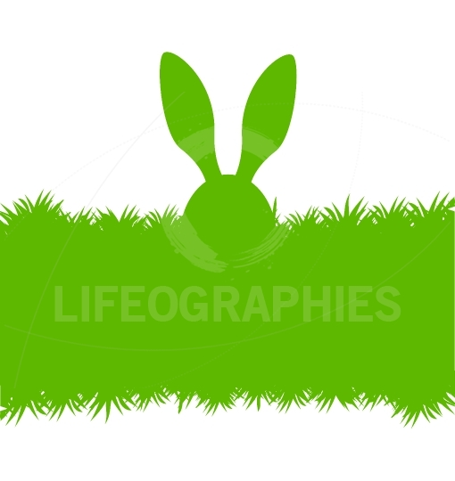 Easter bunny ears on grass greeting card