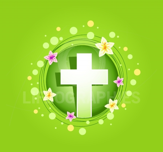 Easter religious cross spring card
